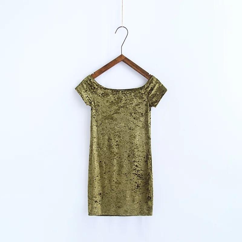 dress Bodycon one-piece Women Velvet slash-NECK short sleeve Dress Sundress Hot Sale Women Clothing vestidos