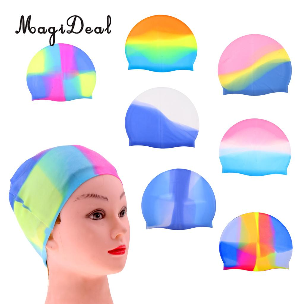 MagiDeal Silicone Swimming Cap Protect Ears Long Hair Swim Pool Hat Free Size Universal for Unisex Men Women Adult Kids Children