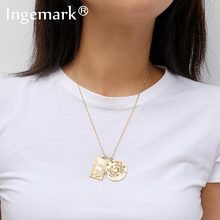 Ingemark Simple Sun Carved Square Choker Necklace Elegant Alloy Crab Pendant Long Thin Chain Necklace Lively Couple Jewelry Gift(China)