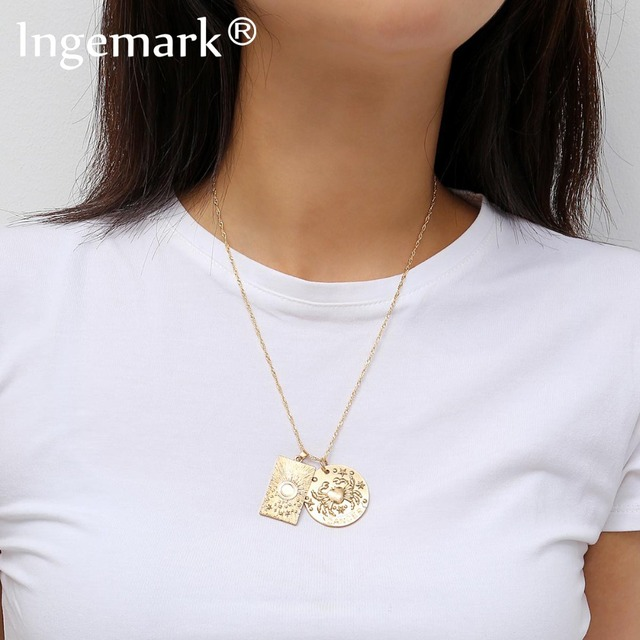 Ingemark Simple Sun Carved Square Choker Necklace Elegant Alloy Crab Pendant Long Thin Chain Necklace Lively Couple Jewelry Gift