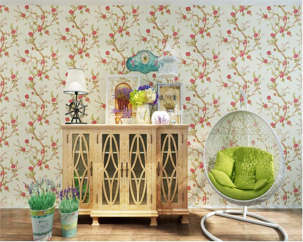 beibehang American-style pure paper papel de parede 3d wallpaper idyllic flowers bedroom porch TV background wall paper tapety 3d bookshelf wallpaper rolls for study room of american vintage chinese style background 3d wall paper papel de parede