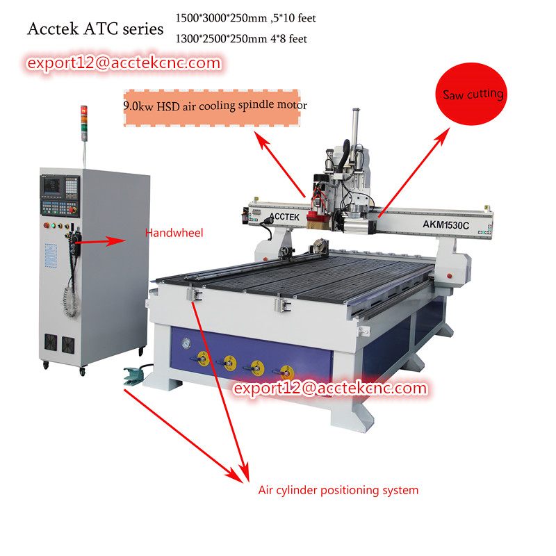 Acctek 1325 1530 4 Axis Atc Cnc Router For Wood Cnc Milling Machine For Furniture Production