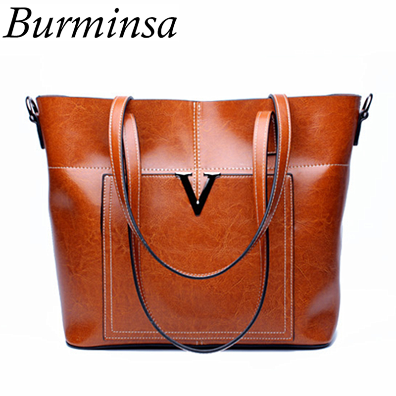 Burminsa Ladies Genuine Leather Bags Big Female Tote Handbags Retro Shopper Women Messenger Bags Office Lady