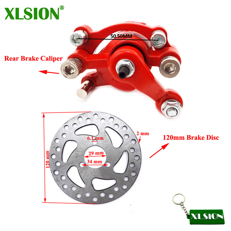XLSION Front Left Brake Caliper 120mm Disc Rotor For 2 Stroke Minimoto Go Kart Scooter Motorcycle