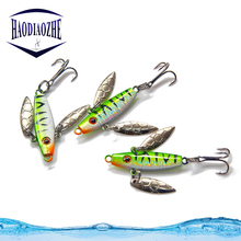 Купить с кэшбэком HAODIAOZHE VIB Minnow Fishing Lure Metal Hard Bait Spoon Isca Artificial Wobblers 3.5cm 7.3g Crankbait Luminous Fish Pesca YU41