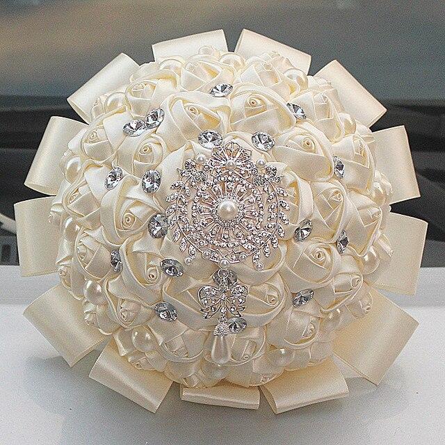 Bridesmaid Marfim Satin Roses Wedding Bouquet Flowers de mariage ...