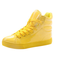 2019 New Arrival Lighted Candy Color High top Shoes Men Fashion Unisex Shoes Flat Platform Shoes Couple Shoes yellow black white