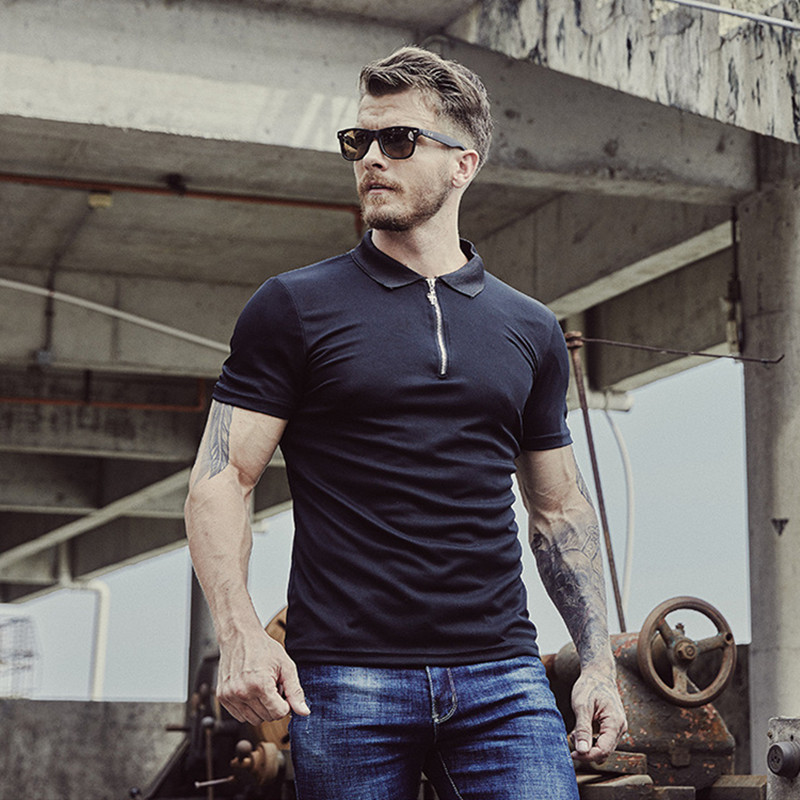 GustOmerD Dropshipping 2019 New Brand   Polos   Men Solid Slim Fit Short Sleeve   Polo   Shirt Men Casual Zipper Stand Collar Mens   Polo