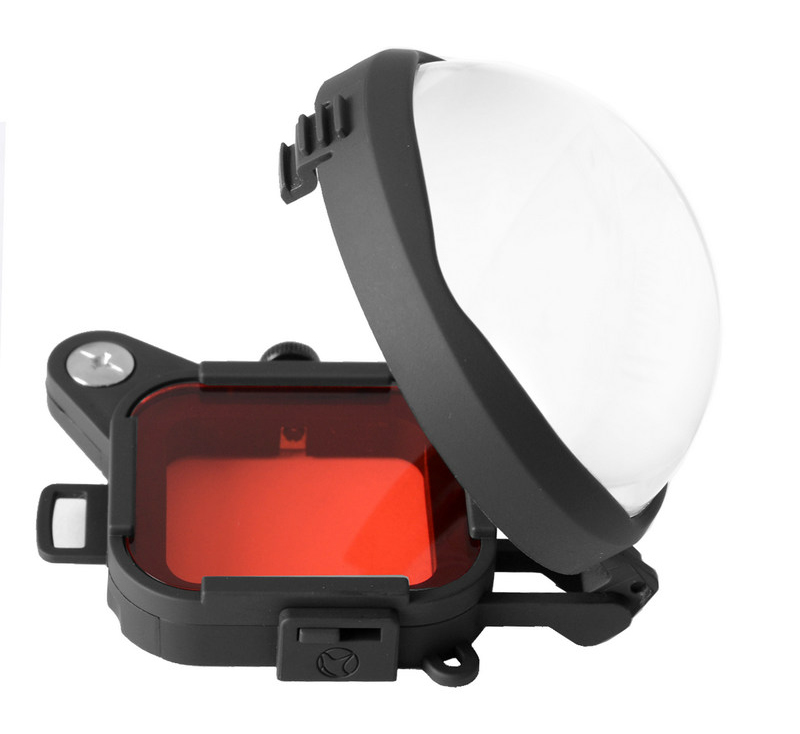 Red Color Correction Filter + 16X Close Up Macro Lens for Gopro Go Pro Hero 4 3 3+ Housing Case Underwater Scuba Lens Filter Kit (7)