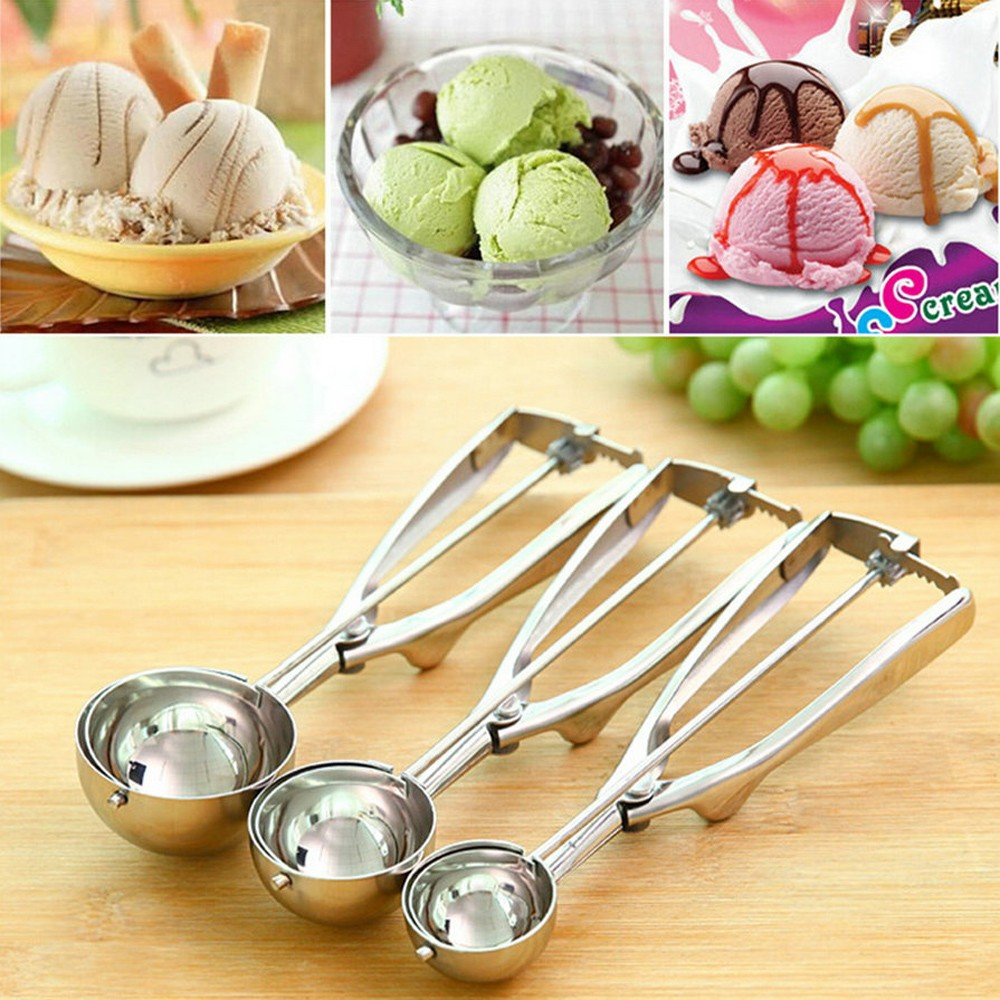 New Kitchen Ice Cream Mash Potato Scoop Stainless Steel Spoon Spring ...