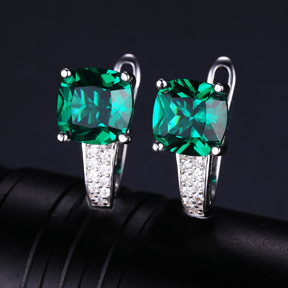 Jewelrypalace Cushion 3 1ct Created Green Emerald Clip On Earrings 925 Sterling Silver Fine Jewelry For Women In From Accessories