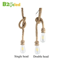 цены Retro Single/Double Head Hemp Rope Pendant Lights Creative Personality Vintage Light Rustic Lamp Living Room Cafe Pub Restaurant