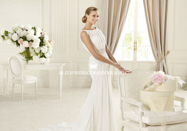 Cotton Wedding Dresses Halter Neck Dress Hire Uk Mormon A Line Floor Length  Sweep Brush Train Beading High Spaghetti 2015 Cheap-in Wedding Dresses from  ... 04d6586acba2