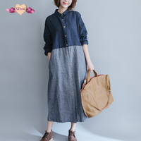 Women Cotton Linen Dress Patchwork Long Sleeve Spring Autumn Women Striped Shirt Casual Vintage Blue Dress