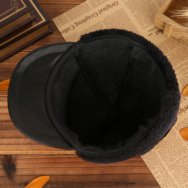 Wholesale New 2018 Winter Hats For Men Women Leather Warm Hat Aviator Cap With Ear Flaps Russian Caps earflaps Plush Dad Hat