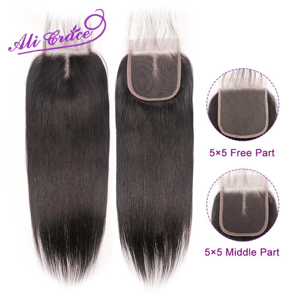 Lace Closure Human-Hair Ali-Grace Straight 5x5 Peruvian Free-Part Swiss Natural-Color