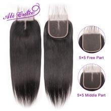 Ali Grace 5x5 ปิดลูกไม้ Peruvian Straight Human Hair ปิดกลางและฟรี Swiss ลูกไม้ธรรมชาติสี