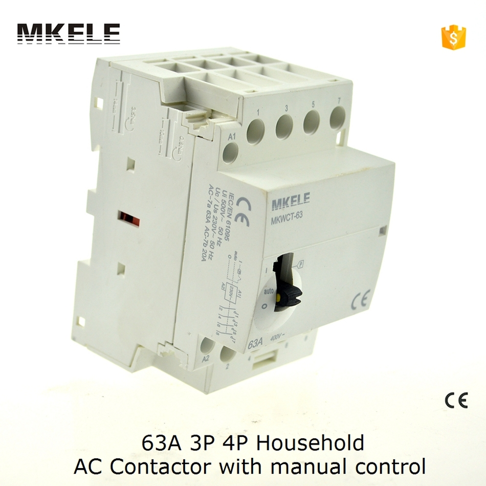 63A AC Contactor 3P Manually Operated Din Rail Modular Household 3NO or 3NC Contator Kontaktor