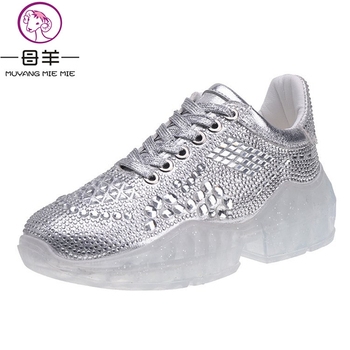MUYANG Women Sneakers Spring Autumn Summer Transparent Sole Bling Rhinestone Casual Shoes Female Lace Up Platform Shoes