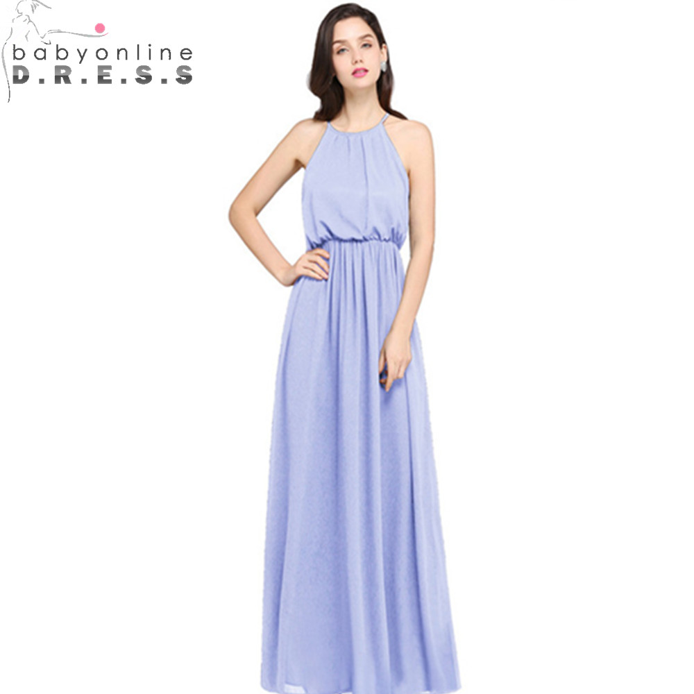 Compare prices on blue bridesmaid dresses online shoppingbuy low 2018 new sexy open halter navy blue bridesmaid dresses cheap chiffon wedding party dresses long prom ombrellifo Image collections