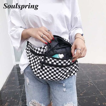 Hot sale Waist Bag Women Men Unisex Leg Bag Lattice Checkerboard Fanny Pack Female Shoulder Belt Bag Cellphone Bag Big Promotion