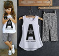2015 Kids Baby Girls summer clothes set 2pcs suit Letter Print Tops and Leopard Pant sleeveless children's clothing sets