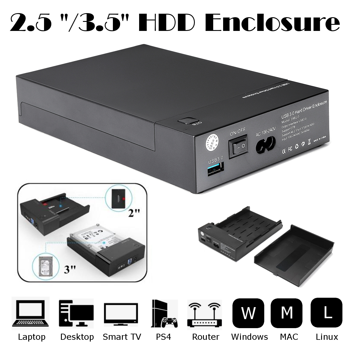 External Hard Disk Drive Enclosure Case 2.5/3.5 inch HDD Case USB 3.0 to SATA HDD Hard Disk Drive Enclosure External Box Case blueendless tool free hdd box 2 5 sata hdd externo external hard drive case 2 5 hard disk case plastic hdd case 2 5 usb 3 0