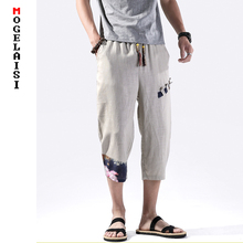 Men Shorts summer Knee length pants linen cotton Elastic Waist casual Harem shorts homme Dropshipping plus size 5XL QT3023-K90