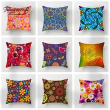 Fuwatacchi Floral Cushion Cover Red Yellow Flowers Throw Pillow Cover Sunflower Decorative Pillowcase For Sofa Home Decor цены