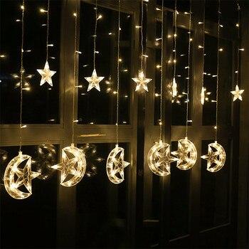 138 Leds 2.5M Star Moon Led Curtain Light Garland Holiday Lighting Fairy Wedding Christmas Indoor Home Decoration 110V/220V