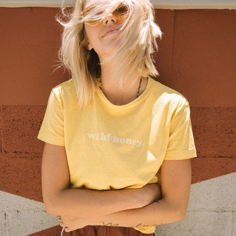 4edb75d99 HAHAYULE YF Wild Honey Women Hipster Tshirt Bohob Camping 70s Clothing Good  Vibes Graphic Honey Tee Trendy Yellow Fashion Tops-in T-Shirts from Women's  ...
