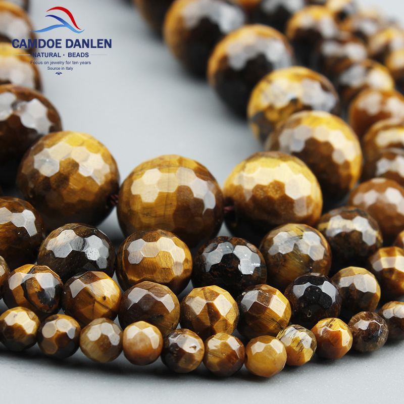 Free Shipping Natural Stone Faceted Brown Gold Tiger Eye Round Beads 4 6 8 10 12MM Pick Size Beads For Jewelry Making QM13 цена