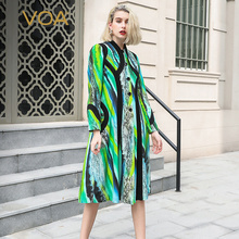 VOA Snake Print Heavy Silk Single Breasted Trench Coat Women Green Runway Outerwear Ladies Fall Windbreaker Luxury Clothes F382