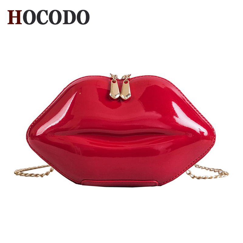 HOCODO 2018 Fashion Women Patent Leather Red Lips Clutch  Bag Ladies Chain Shoulder Bag Handbags Evening Bag Lips Shape Purse