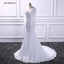 yiwumensa New vestidos de novia lace wedding dress 2017 Long sleeves mermaid wedding dresses Lace appliques vestido de casamento