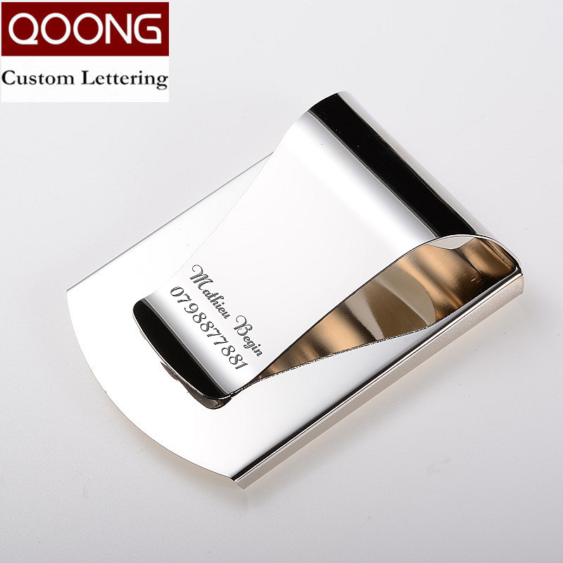 QOONG 2017 Personalizzato Lettering 3 Colori Sottile Pocket Money Cash Clip Morsetto Double Sided Porta Carte di Credito Apribottiglie QZ40-006