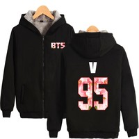 BTS Kpop Harajuku Hoodies Women Korean Bangtan Hip Hop Coat Fashion Winter Sweatshirt Women Hoodies Fluff Thicker Female Clothes
