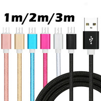 Fast Charging Cable Nylon Braided Wire Cord Metal Sync USB Cables Data Sync USB Charger for Samsung Galaxy Huawei Xiaomi Android
