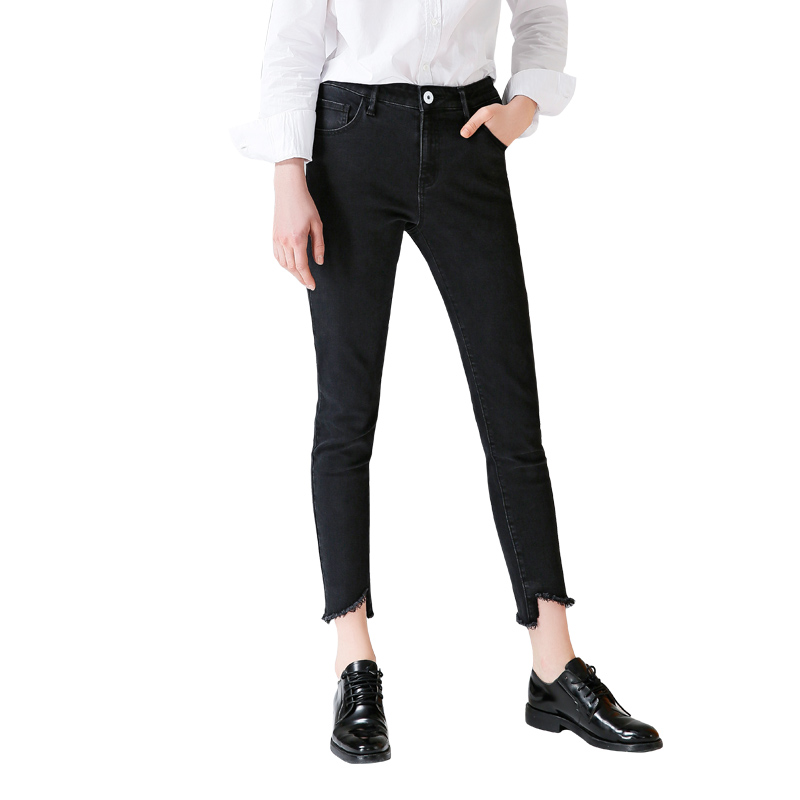Toyouth Skinny Strech   Jeans   For Woman 2019 High Waist Pencil Pants Elastic Asymmetrical   Jeans   Black Color Trousers