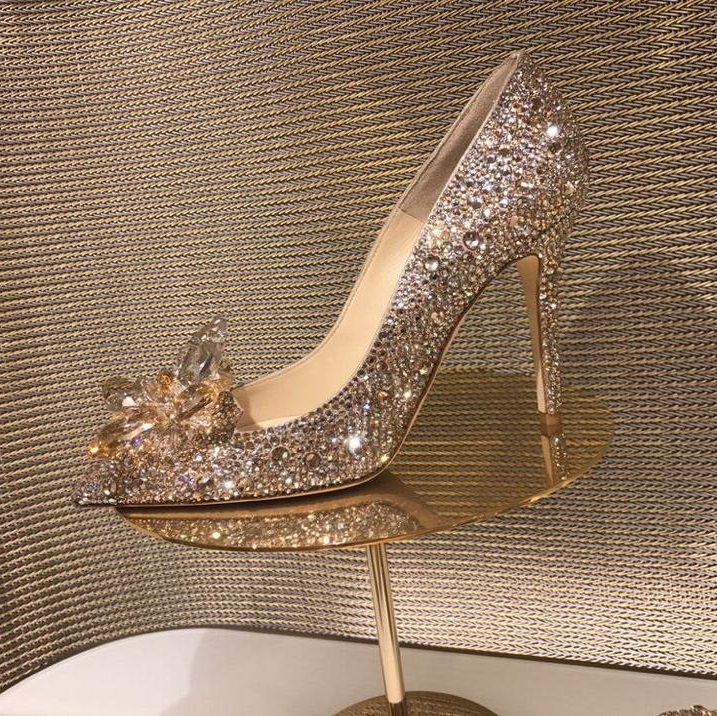Hot Selling Champagne Rhinestone Pumps Women Shoes Pointed Toe Thin Heels Crystal Wedding Shoes Bride Ladies Heels Party Shoes