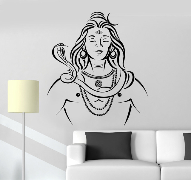 removable home decoration vinyl wall decals lord shiva hinduism