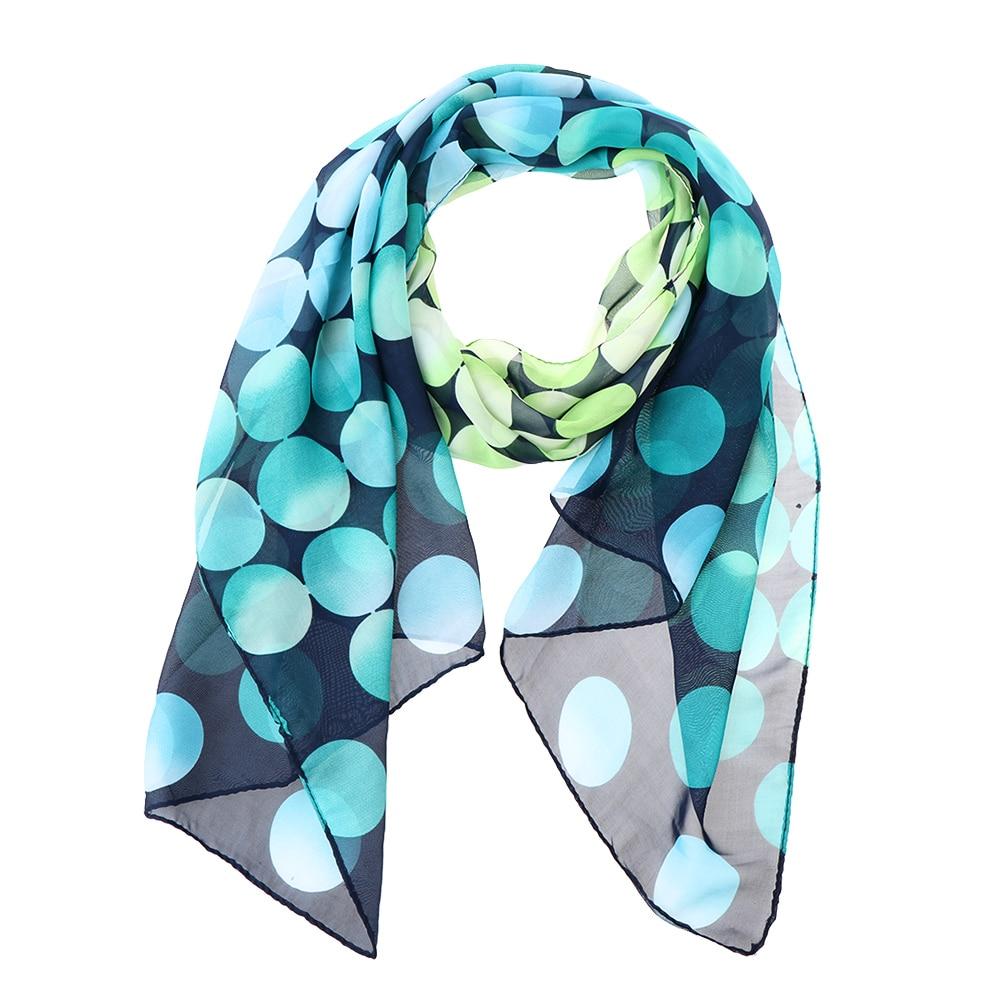 Fashion Women Girls Blue Dot Long Soft   Wrap   Lady Shawl   Scarves   Women Long Soft   Wrap   Shawl Silk Chiffon   Scarf   for Spring