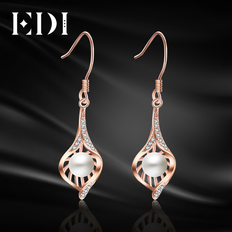 EDI Women Dangle Earring 925 Sterling Silver Statement 4mm Natural Freshwater Pearls Pandents Drop Earrings New Fine Jewelry edi genuine natural freshwater pearls 5mm 100