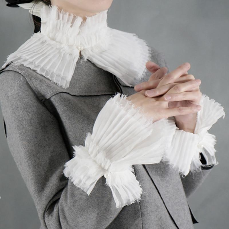 Fashion Romantic Pearl Cuffs Decorative Fake Collar Cuffs Department False Temperament Chiffon Crest Collar Lace Organist