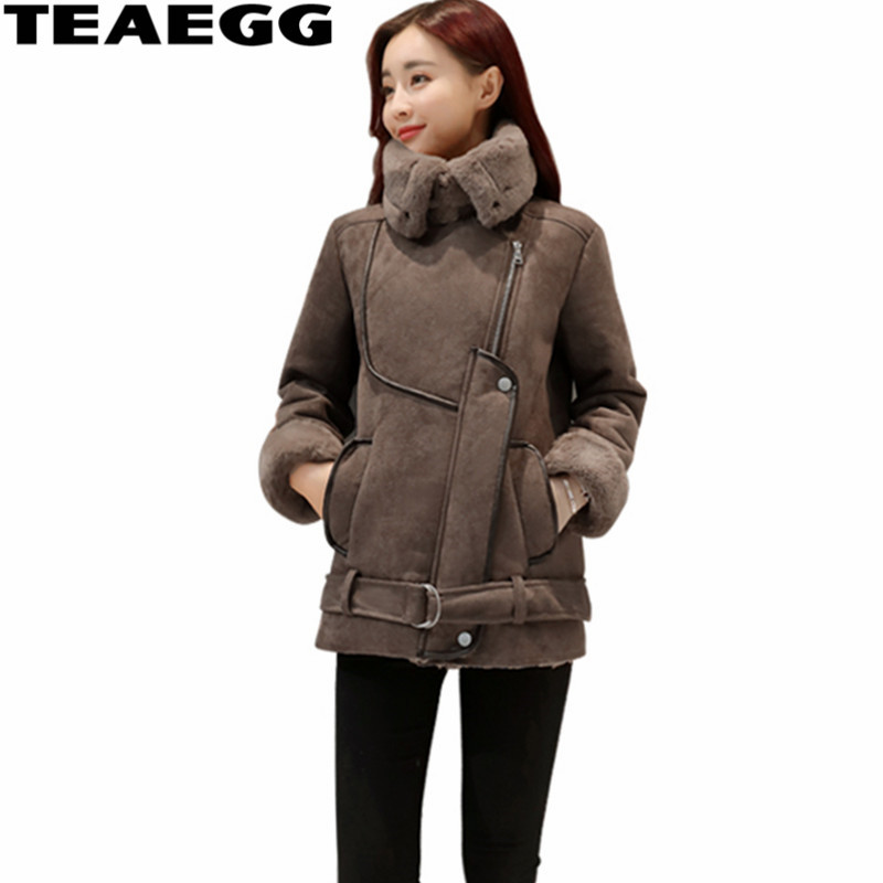 TEAEGG Brown   Suede   Women   Leather   Jacket Coats 2019 Jaquetas De Couro Feminino Warm Faux Women's   Leather   Jackets Parka Femme AL14