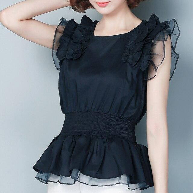 2017 volantes de verano mujer camiseta de encaje tee tops tallas grandes negro marca clothing gasa camiseta organza del hilado de las mujeres de alta calidad
