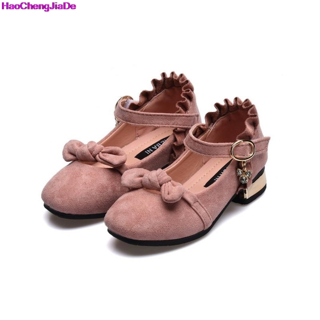 c0b7513407a Haochengjiade children suede shoes for princess flower girls loafers  toddler girls party flat shoes with bows