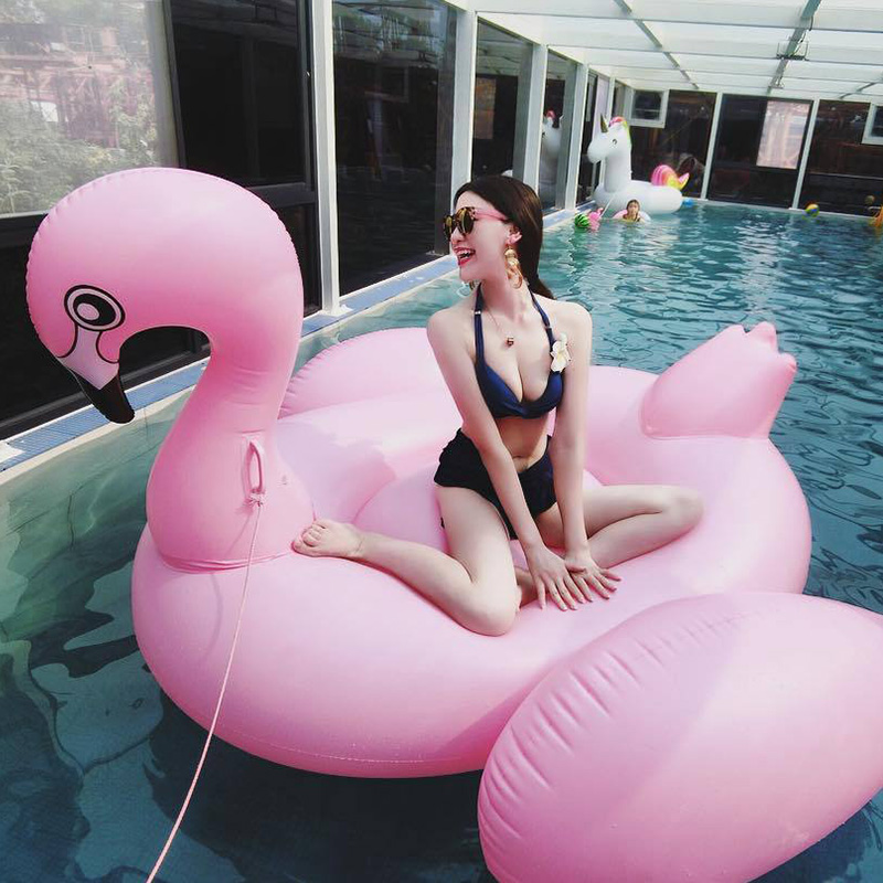 Rooxin Giant Flamingo Swimming Ring For Adult Inflatable Circle Floating Bed Air Mattress For Swimming Pool Beach Party Toys