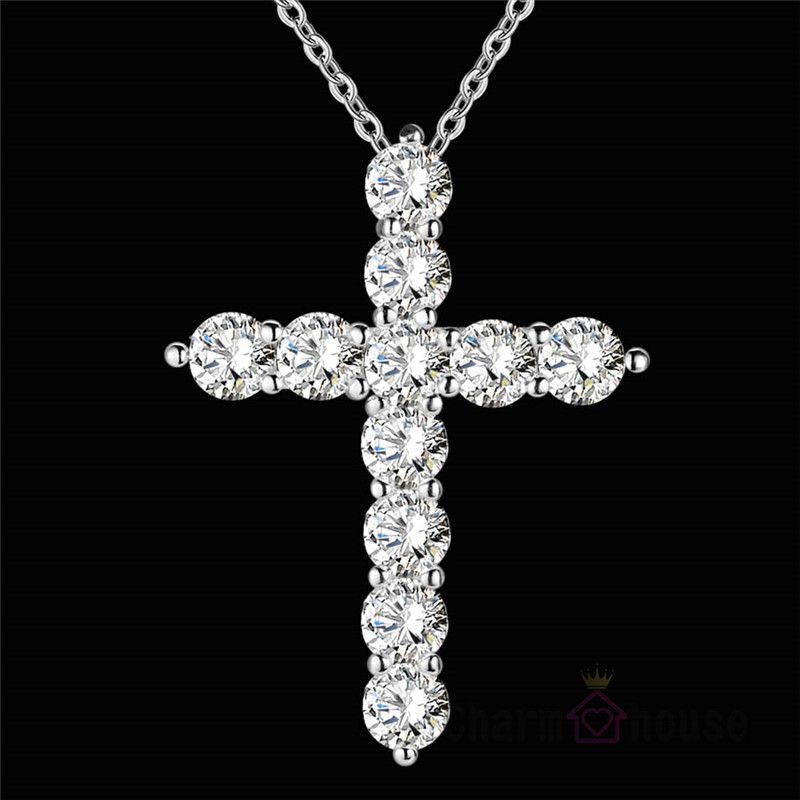 Femme Collier Silver Crystal Cross Pendant Necklace 18 Inch Chains For Women 925 Jewelry Bijoux Gifts For Friends Drop Shipping