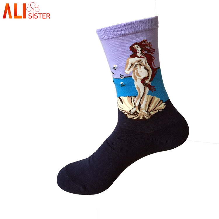 Unisex Retro Art Oil Painting Men Dress Socks Fashion Happy Socks Lovers Cotton Long Socks Sokken Calcetines Skateboard Socks Underwear & Sleepwears